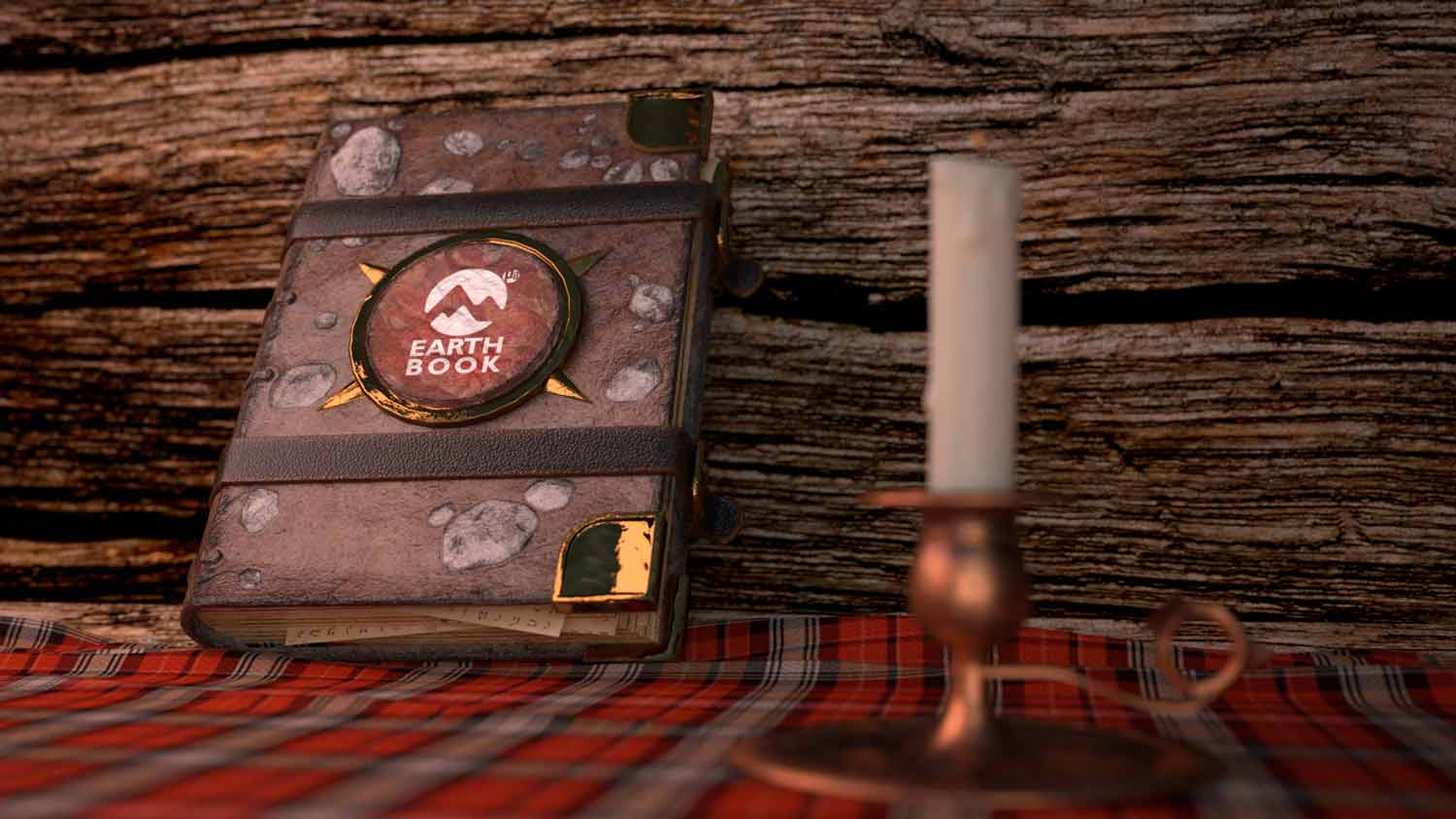 wool-jacquard-red-wood-earthbook-book-tome-bougeoir-iron-candle-bougie-light-fire-front-3d-pixelion8