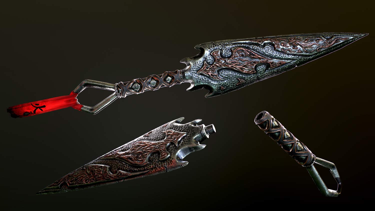 pixelion8-3d-kunai-weapon-gameart-videogame-red-metal-sideview