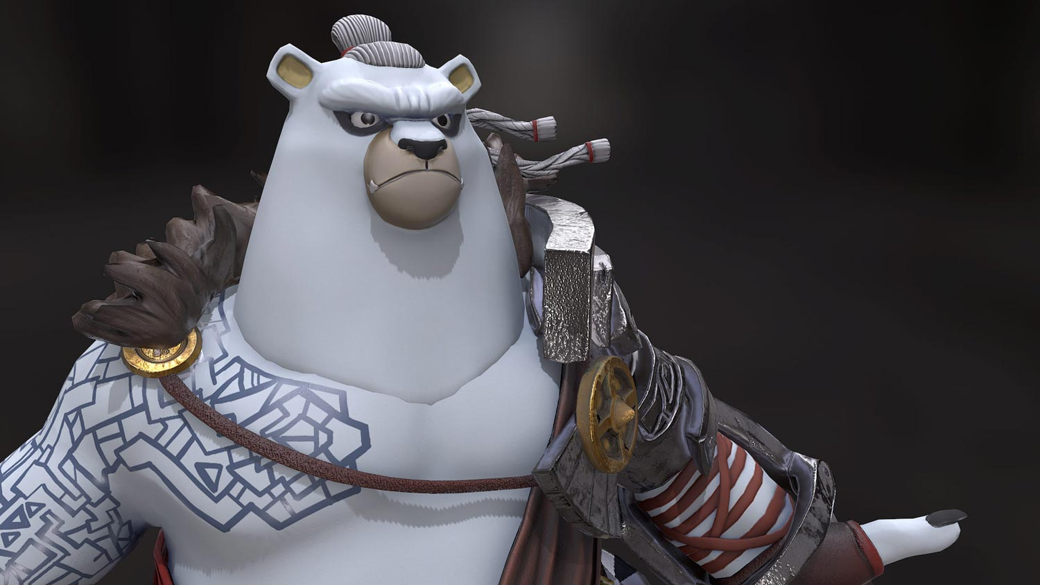 close-front-3d-bear-white-warrior-game-character-pixelion8